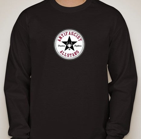 Anonymous Antifascist Antifa Allstars Long Sleeve Smaller Logo T-shirt | Blasted Rat