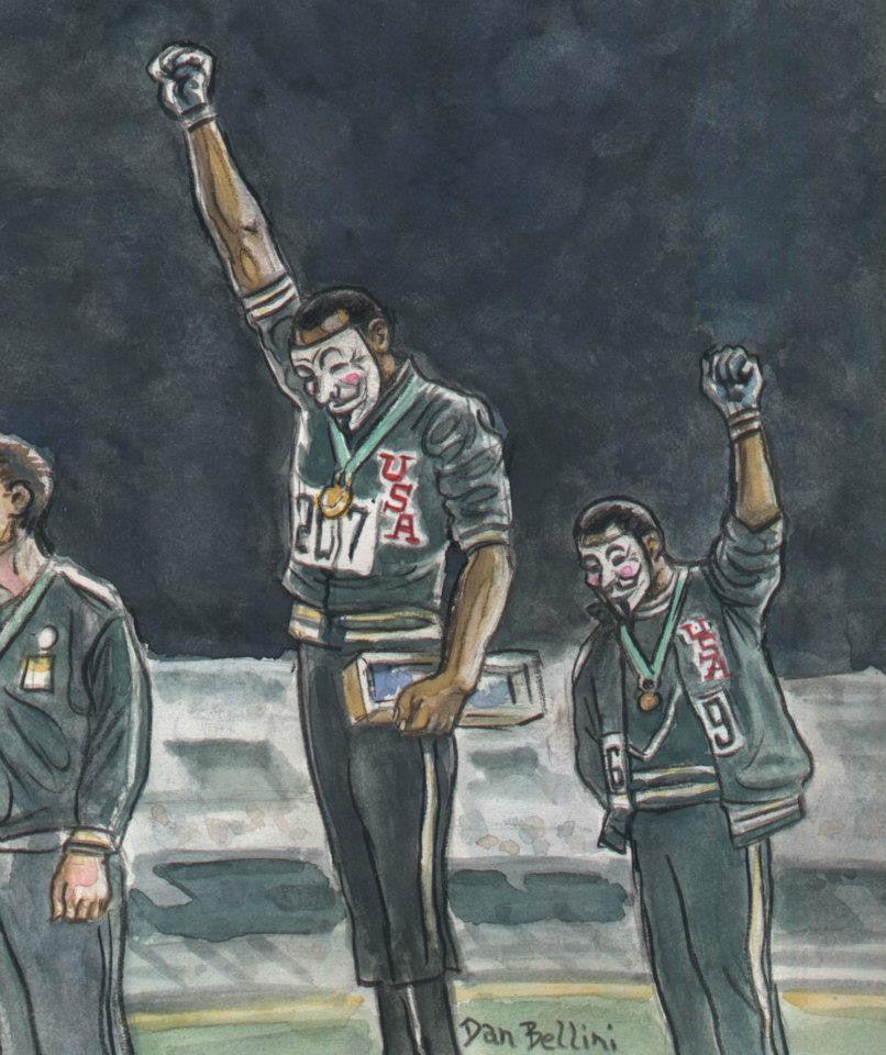 Anonymous Black Power 1968 Olympics  | Dan Bellini Occupy Art Print | Blasted Rat