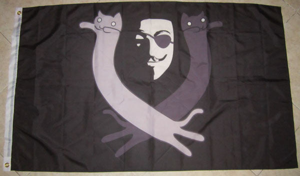 Anonymous Sea Pirate Large Flag with Lulzcats 5x3 feet