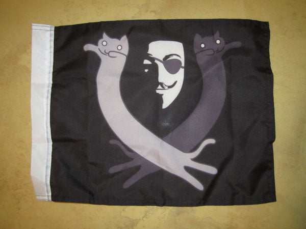 Anonymous Sea Pirate Hand Flag with Lulzcats 15x12""