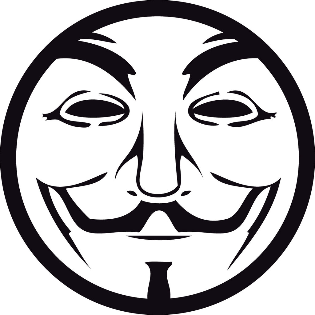 Anonymous Guy Fawkes Mask Circle | Die Cut Vinyl Sticker Decal | Blasted Rat