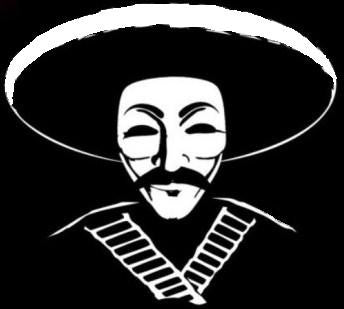Anonymous Sombrero with Bullet Belt Die Cut Vinyl Sticker Decal