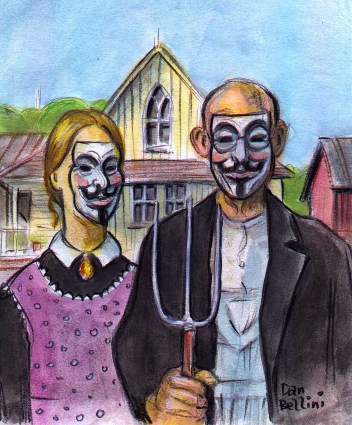 Anonymous American Gothic | Dan Bellini Occupy Art Print | Blasted Rat