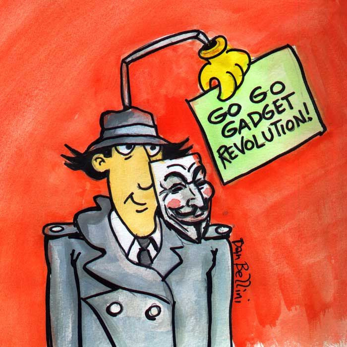 Anonymous Inspector Gadget | Dan Bellini Occupy Art Print | Blasted Rat