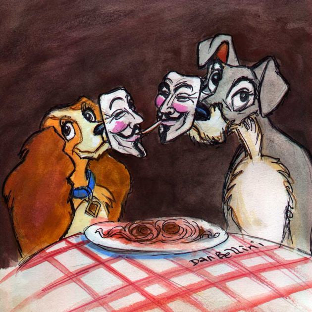 Anonymous Lady And The Tramp | Dan Bellini Occupy Art Print | Blasted Rat