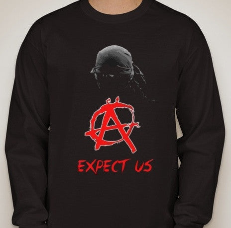 Anonymous Anarchist Expect Us Long Sleeve T-shirt | Blasted Rat