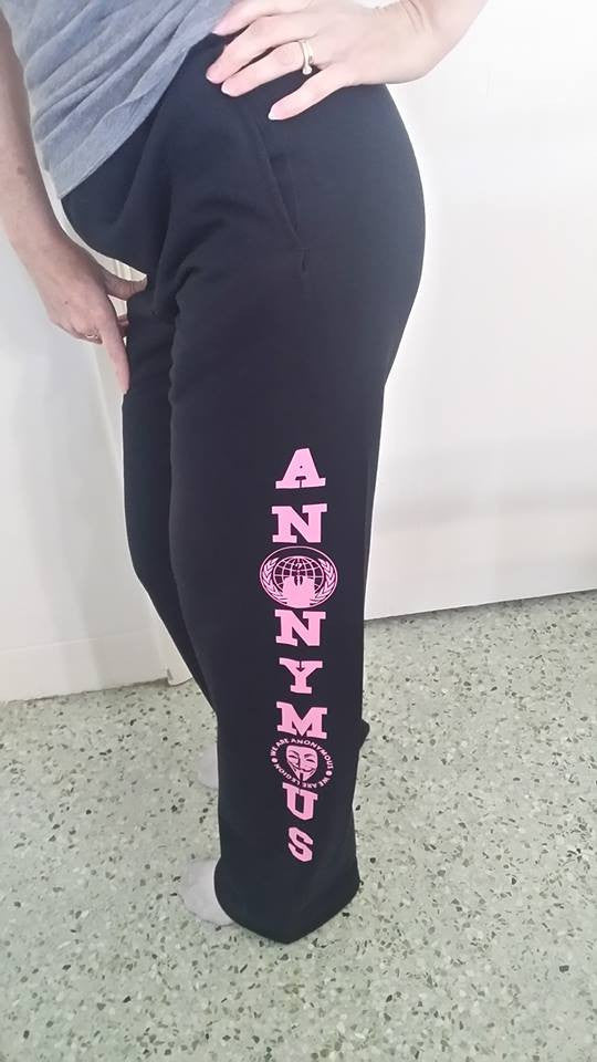 Anonymiss Pink Art Sweatpants One Sided Elastic Tight Bottom