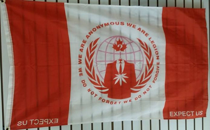 Anonymous Canada Crest Credo Large Flag 5x3 Feet ANON Banner