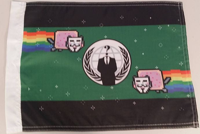 "Anonymous Crest With Anon Nyan Cats 15x12"" Mini Flag"