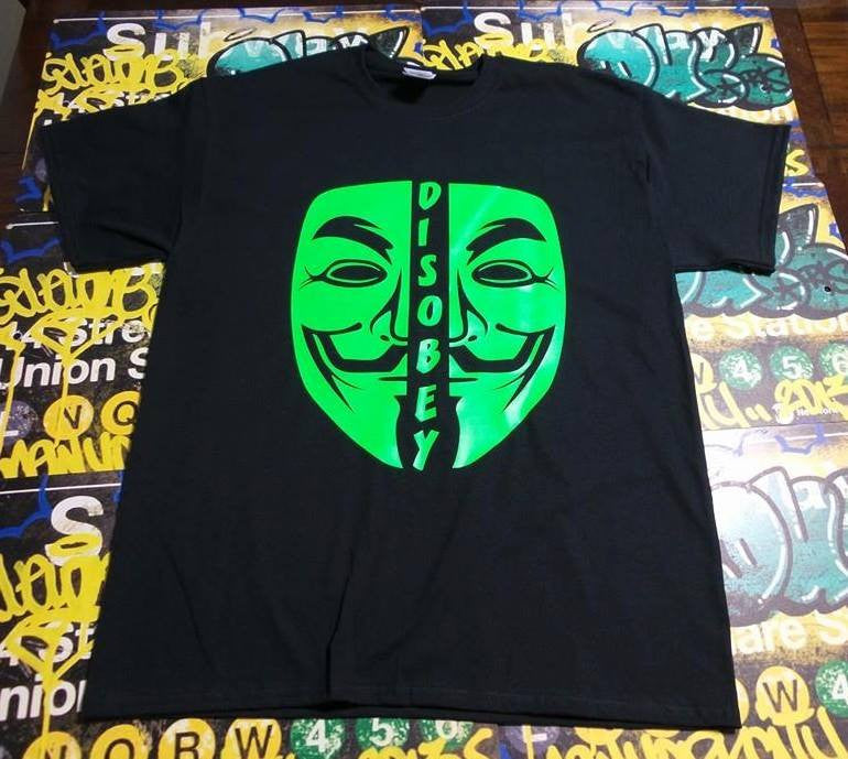 Anonymous Disobey Neon Green Mask T-shirt