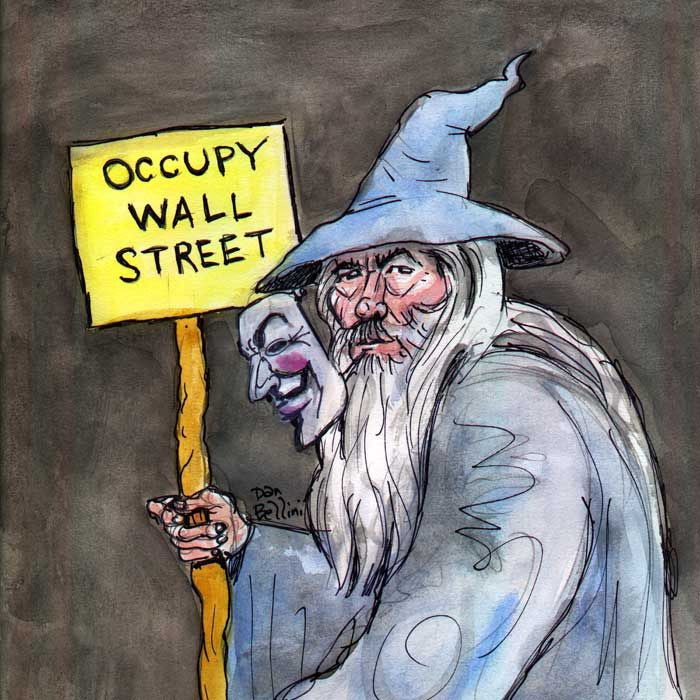 Anonymous Gandalf Wizard Lord Of The Rings | Dan Bellini Occupy Art Print | Blasted Rat