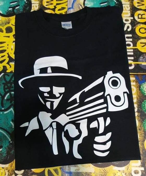 Anonymous Gangster with Gun T-shirt | Blasted Rat