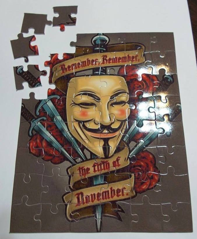Anonymous Guy Fawkes Remember Remember Puzzle