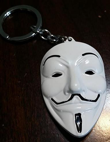 Anonymous White Mask Guy Fawkes Vendetta Keychain