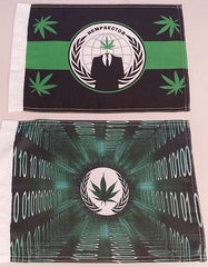 "Anonymous Hempsector 15x12"" Mini Flag & Weed Leaf Mini Flag Machine Code Combo"