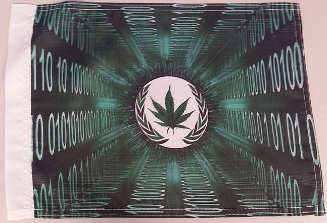 "Anonymous Hempsector Weed Leaf Machine Code 0 1 15x12"" Mini Flag"