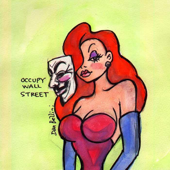 Anonymous Jessica Rabbit Bugs Bunny | Dan Bellini Occupy Art Print | Blasted Rat