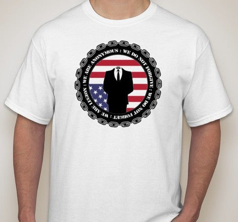 Anonymous Crest with Upside Down USA Flag T-shirt