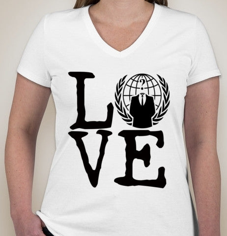 Anonymous Love With Crest Ladies V-Neck T-shirt