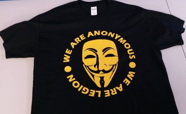 Anonymous Mask We Are Legion Yellow Art Guy Fawkes T-shirt