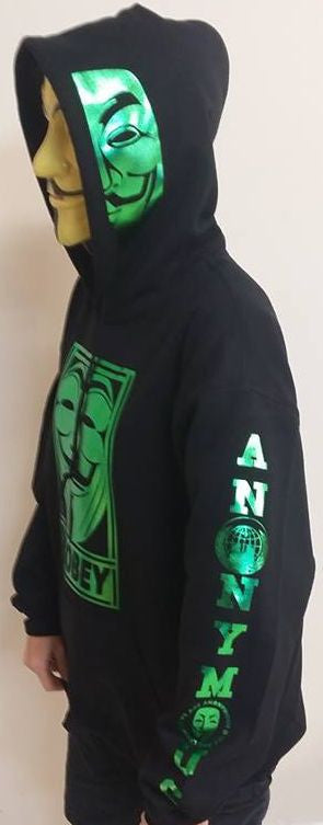 Anonymous Disobey Metallic Green Art Fully Decked With Sleeve Logos And Mask On Hoodie