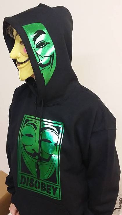 Anonymous Disobey Metallic Green Art Mask On Hoodie
