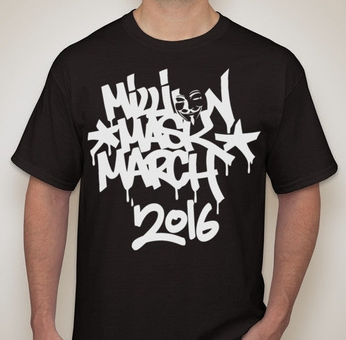Anonymous Million Mask March 2016 White Graffiti Art T-shirt