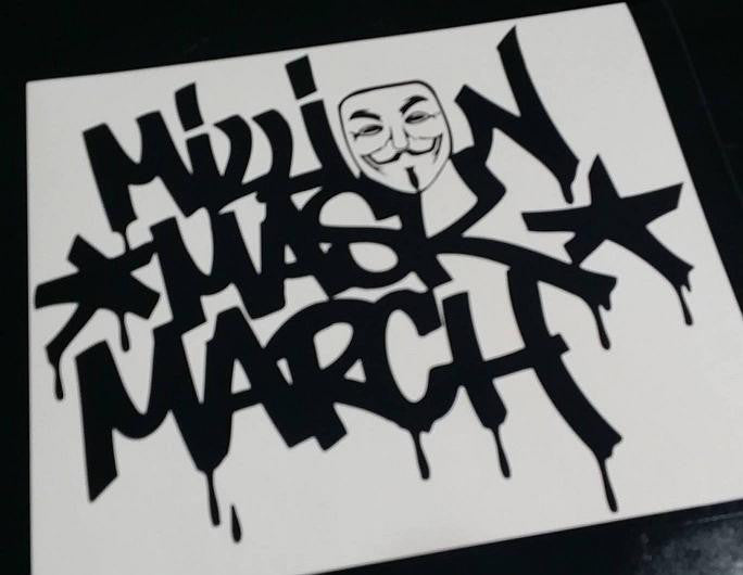 Anonymous Million Mask March Graffiti | Die Cut Vinyl Sticker Decal