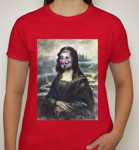 Anonymous Mona Lisa Women T-shirt | Dan Bellini Occupy Art | Blasted Rat