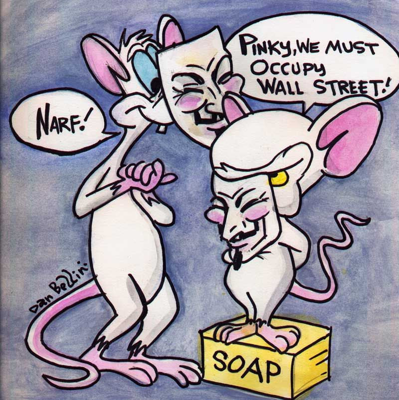 Anonymous Pinky And The Brain | Dan Bellini Occupy Art Print | Blasted Rat