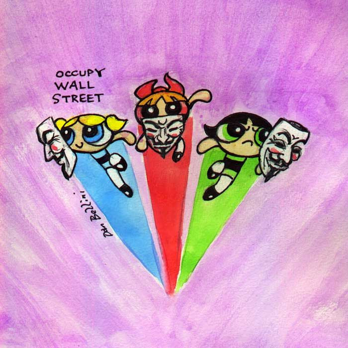 Anonymous Powerpuff Girls | Dan Bellini Occupy Art Print | Blasted Rat
