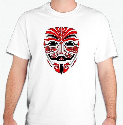 Anonymous Tribal Mask Red Art T-shirt