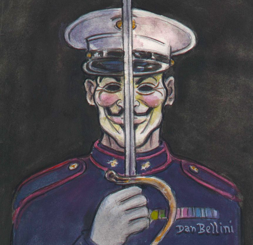 Anonymous US Marine Corps USMC | Dan Bellini Occupy Art Print | Blasted Rat