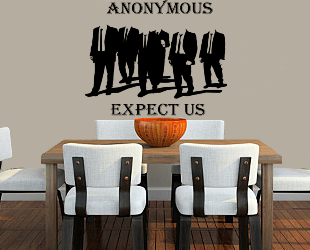 "Anonymous Walking In Suits Expect Us  23"" Die Cut Vinyl Wall Decal Sticker"