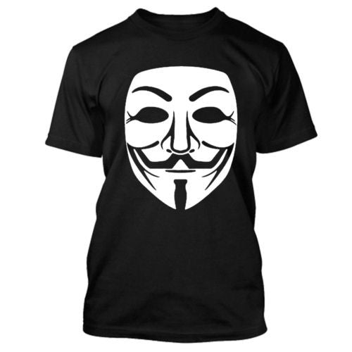 Anonymous Large Mask White Print T-shirt