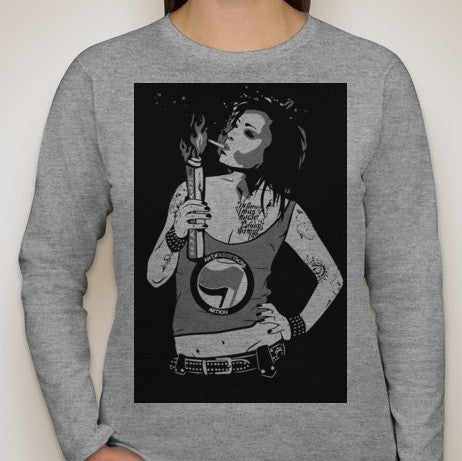 Antifa Aktion Girl Long Sleeve Women T-shirt | Blasted Rat