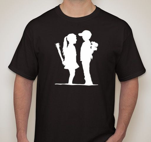 Banksy Girl Meets Boy With Baseball Bat T-shirt