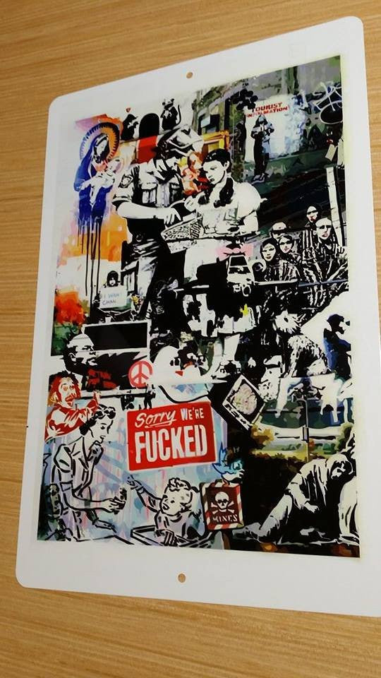 Banksy Montage Metal Sign We Are Fucked Mines Dorothy Police 17x11 Inch | Blasted Rat