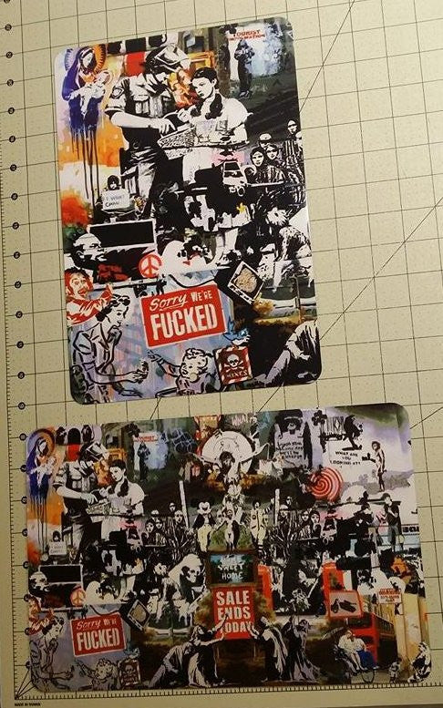 Banksy Montage Metal Sign We Are Fucked Mines Dorothy Sale Ends Today 12x8 Inch Set Of 2 | Blasted Rat