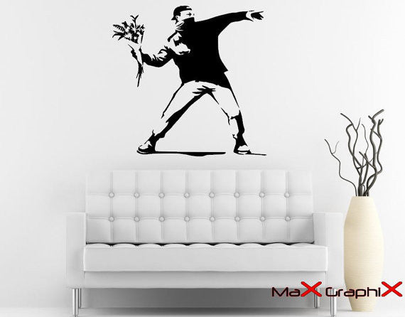 "Banksy Street Art Molotov Flowers - 23"" Die Cut Vinyl Wall Decal Sticker"