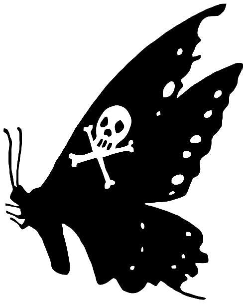 Butterfly With Skull Crossbones | Die Cut Vinyl Sticker Decal