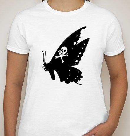 Butterfly With Skull Crossbones T-shirt | Blasted Rat