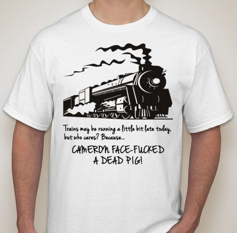 David Cameron Pig Gate Steam Train T-shirt | Blasted Rat
