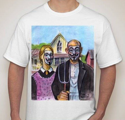 Anonymous American Gothic T-shirt | Dan Bellini Occupy Art