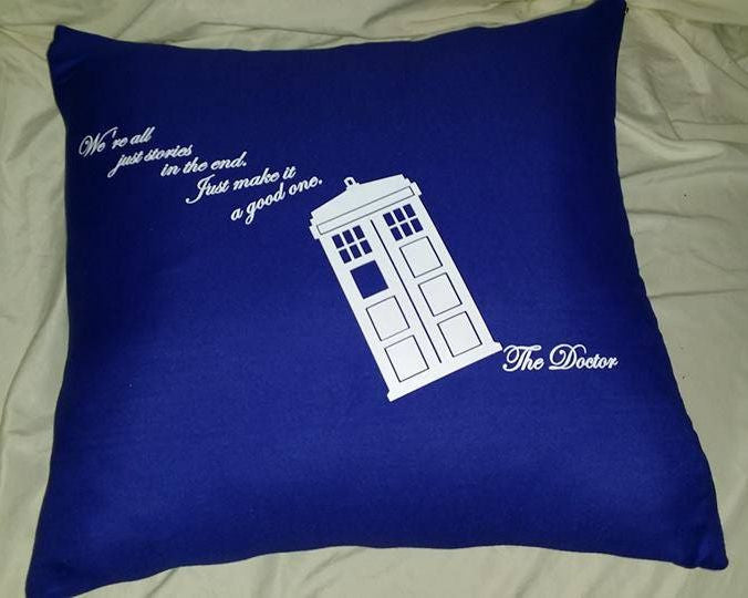 Doctor Who Quote We Are All Just Stories Phone Booth Pillow Cover