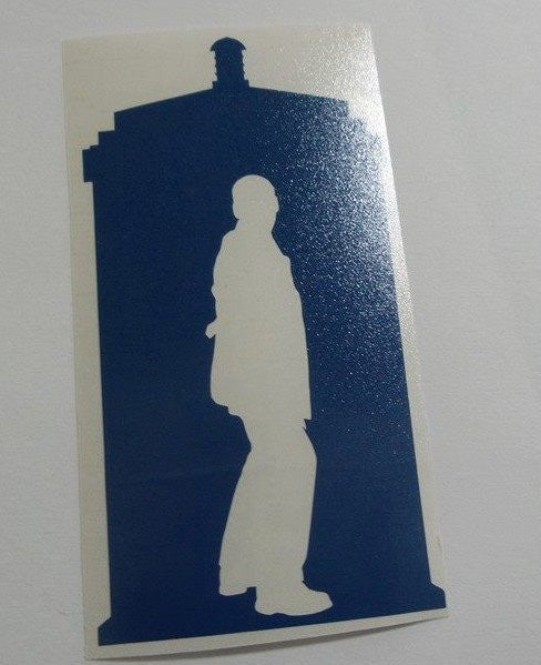 Dr Who 9th Doctor Tardis Side View | Die Cut Vinyl Sticker Decal