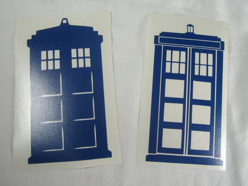 Dr Who Tardis Police Box x2 | Die Cut Vinyl Sticker Decal | Blasted Rat