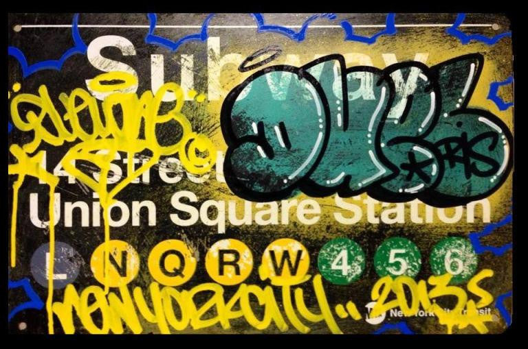 Duel Graffiti NYC Union Square Bombed Subway Sign Replica 11x14"