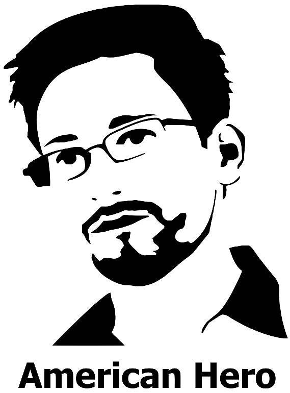 Edward Snowden American Hero Die Cut Vinyl Sticker Decal