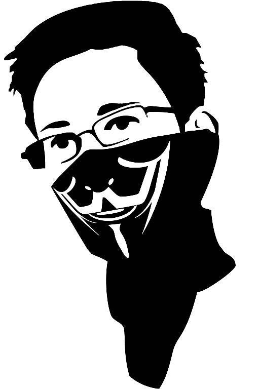 Edward Snowden In Anonymous Bandana Die Cut Vinyl Sticker Decal